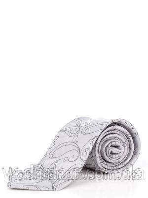 Серый галстук с оригинальным принтом