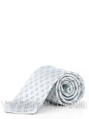 Галстук серый с геометрическим принтом