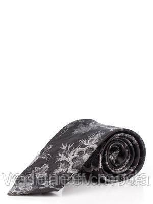 Галстук темно-серый в цветочный принт