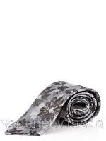 Серый галстук в цветочный принт