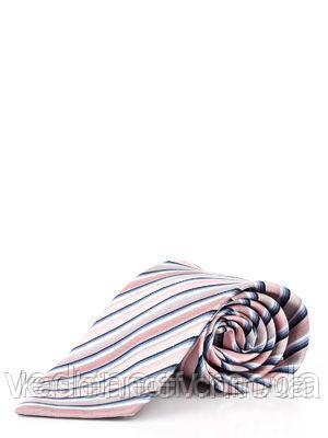 Галстук розовый в диагональную цветную полоску