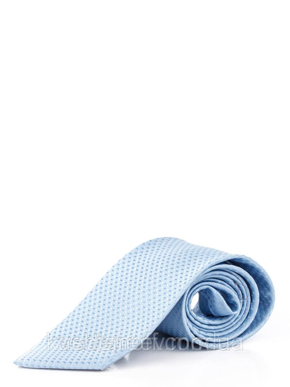 Голубой галстук из микрофибры в диагональный ромб