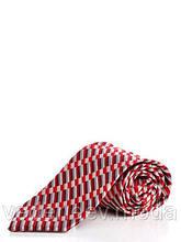 Классический красный галстук из микрофибры с диагональным принтом
