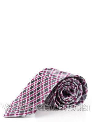 Классический серый галстук из микрофибры с диагональными фиолетовыми квадратами