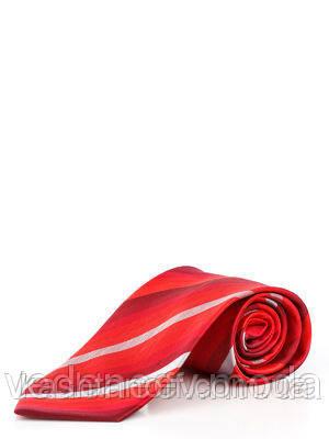 Червоний галстук з мікрофібри в діагональну смужку
