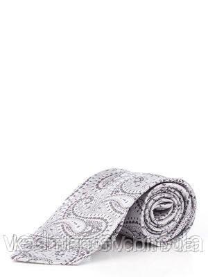 Галстук из микрофибры серого цвета в турецкие огурцы