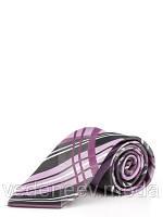 Галстук фиолетовый в полоску из микрофибры