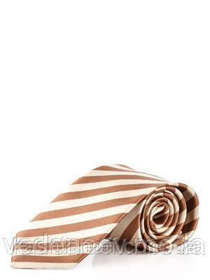 Галстук бежево-коричневый в диагональную полоску