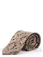 Галстук из микрофибры, коричневый в бежево-серые турецкие огурцы