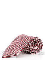 Галстук серо-красный в узкую полоску