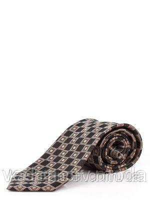 Галстук атласный, коричневый в квадраты