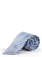 Галстук сине-голубой в широкую полоску