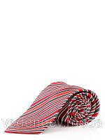Галстук серо-бордовый в диагональную полоску