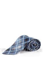 Серый галстук в бирюзовую клетку из микрофибры