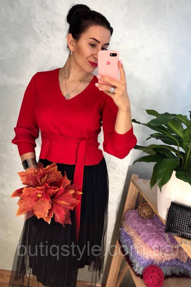Красивое женское комбинированное платье с поясом свитер и юбка фатин серое, пудра, красное