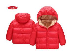 Куртка детская демисезонная  унисекс красная на меху  4 года