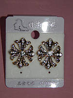 Серьги, стильный крестик в белых камнях, золотистый металл, застежка гвоздик 000459