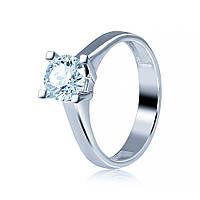 """Золотое кольцо с бриллиантом """"Триумф"""", белое золото, КД7555/1 Eurogold"""
