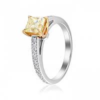 Золотое кольцо КДFY/1 с  редким желтым бриллиантом в 1 карат, белое золото 750 пробы Eurogold
