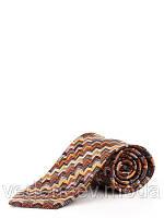 Коричневый шелковый галстук в диагональ миссони