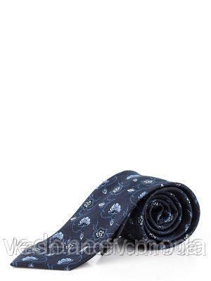 Темно-синий галстук в растительный принт