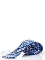 Серо-синий шелковый галстук в диагональ мисони