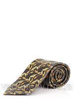 Шелковый черный галстук с абстрактным растительным рисунком