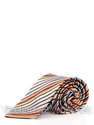 Галстук в диагональную коричнево-серую полоску из шелка