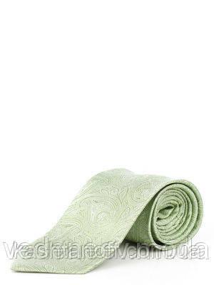 Шелковый салатовый галстук узор турецкие огурцы