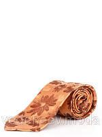 Рыжий шелковый галстук в цветочный принт