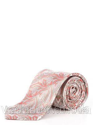 Галстук шелковый светло-розовый, в растительных абстракциях