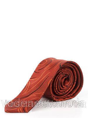 Краватка вузький теракотовий в абстрактний малюнок