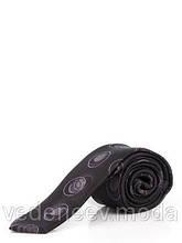 Галстук узкий черный в абстрактные серые круги