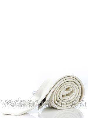 Галстук узкий белый , шелк высокого качества