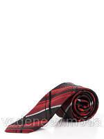 Галстук узкий в красно-черную клетку , жакардовый шелк высокого качества