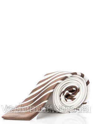 Узкий белый галстук  в коричневый полосатый купон, 100 % шелк высокого качества