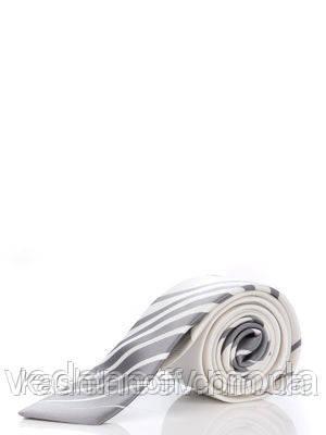 Узкий белый галстук  в серый полосатый купон, 100 % шелк высокого качества