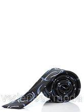 Черный узкий галстук в синие полукруги, 100 % шелк высокого качества