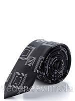 Черный узкий галстук в абстрактные квадраты, 100 % шелк высокого качества