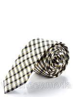 Узкий галстук в черно-серую клетку, 100 % шелк высокого качества