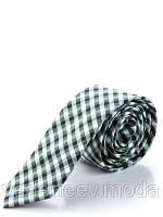 Узкий галстук в зелено-серую клетку, 100 % шелк высокого качества