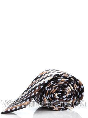Узкий, шелковый галстук в коричнево-голубую клетку