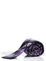 Узкий, шелковый галстук в черно-фиолетовую клетку