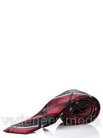 Узкий, шелковый галстук в черно-красную клетку