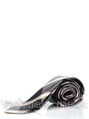 Узкий шелковый галстук, серо-черного цвета в золотую полоску