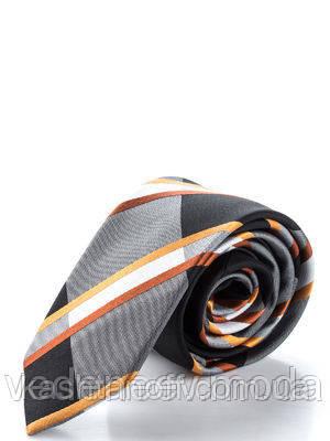 Узкий шелковый галстук, серо-черного цвета с золотыми кругами