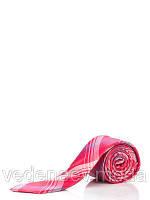 Красный узкий шелковый гарстук в полоску