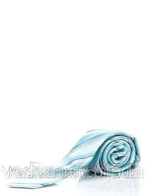Галстук шелковый, узкий бело-голубой в диагональную полоску