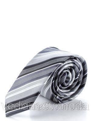 Галстук шелковый, узкий в серебристо-белую полоску