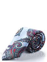 Шелковый узкий галстук голубого цвета с абстрактым рисунком